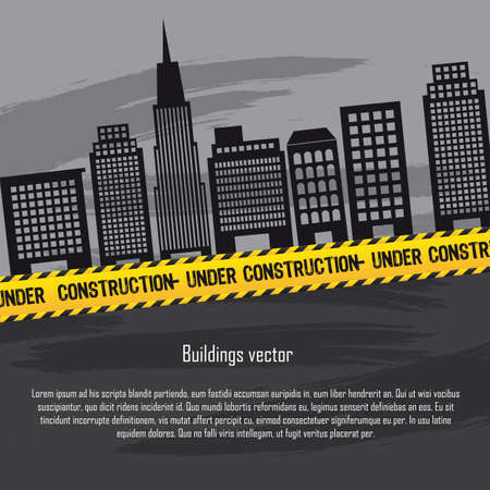 page layout: buildings with yellow line and copy space, under construction.  Illustration