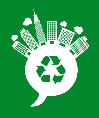 buildings over thought bubble with recycle sign. vector Stock Vector - 12493520
