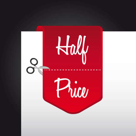 price cut: red half price tag over paper. illustration Illustration
