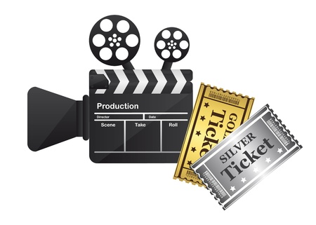 clapper board and tickets isolated over white background.  Vector