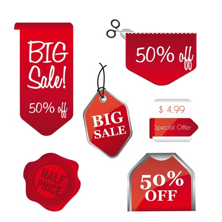 wax sell: red big sale tags isolated over white background.illustration Illustration