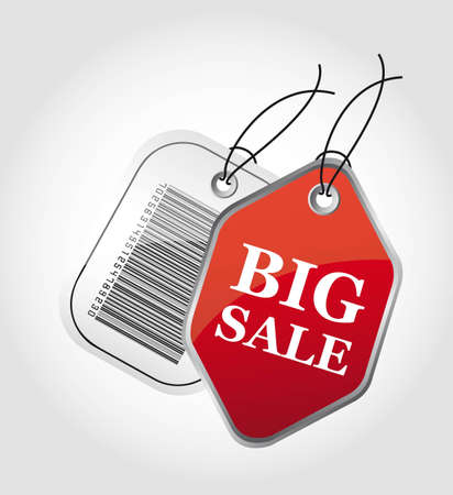 red big sale and barcode labels over gray background. Stock Vector - 12495031