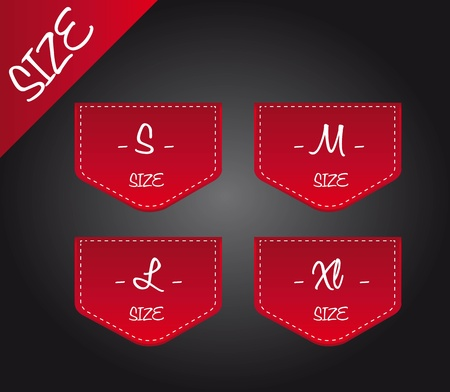 red four size over black background. illustration Vector