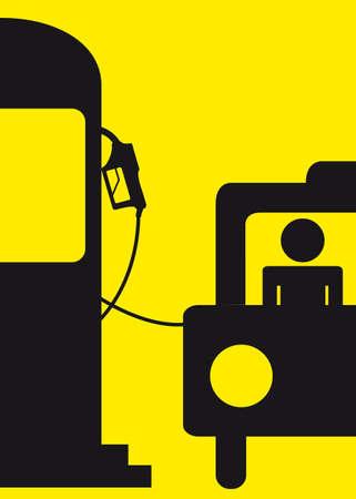 transported: yellow and black fuel station sign. illustration Illustration
