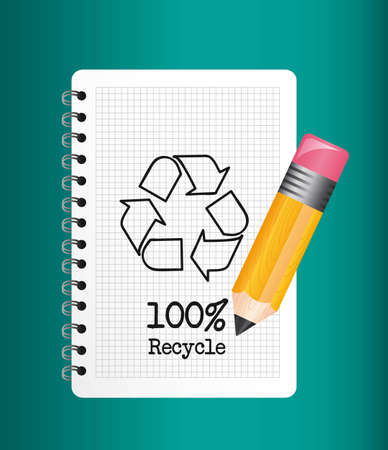 recycle sign over notebook with pencil. illustration Vector