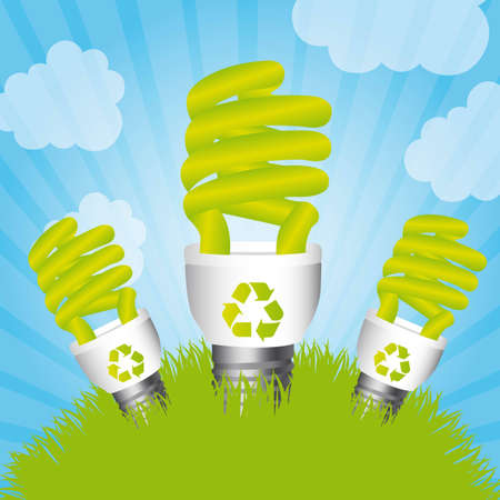 bulb electric over grass and sky, saving energy. illustration Vector