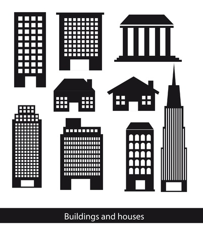building trade: silhouettes buildings and houses isolated over white background.