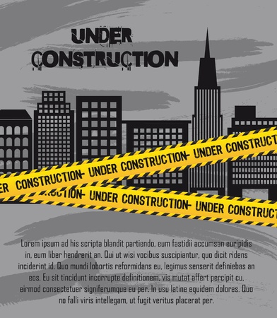 building construction site: under construction with buildings with copy space. illustration