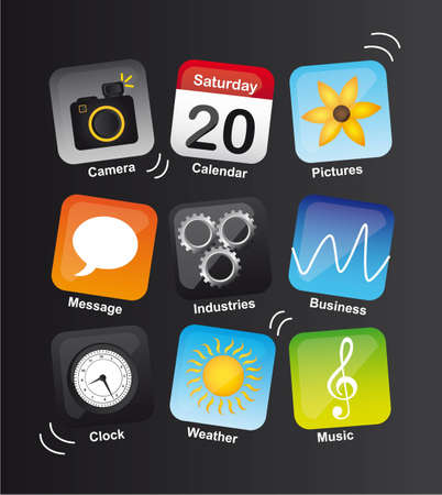 icons vibrant over black background.illustration