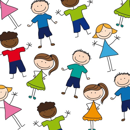 children drawing over white background.illustration Stock Vector - 12495827