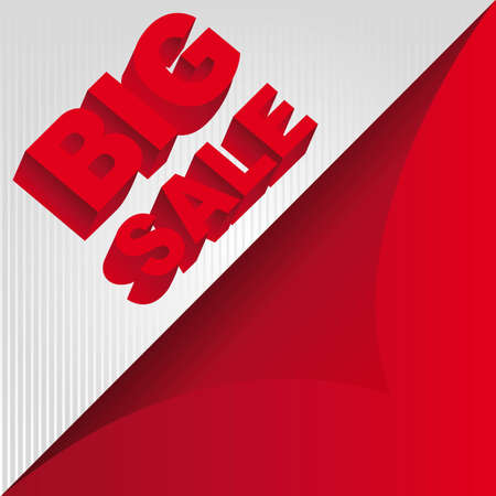 red 3d big sale background. illustration Vector