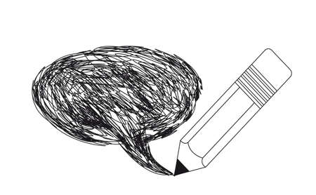 comix: pencil with thought bubble drawing isolated over white background.