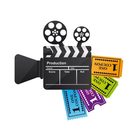 cinema ticket: clapper board with tickets isolated over white background.  Illustration