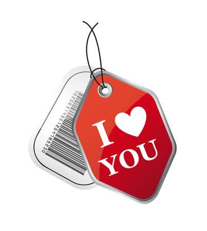 te amo: i love you y las etiquetas de códigos de barras aisladas sobre fondo blanco. Vectores