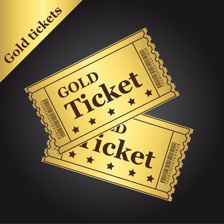 admit one ticket: gold tickets over black background. illustration Illustration