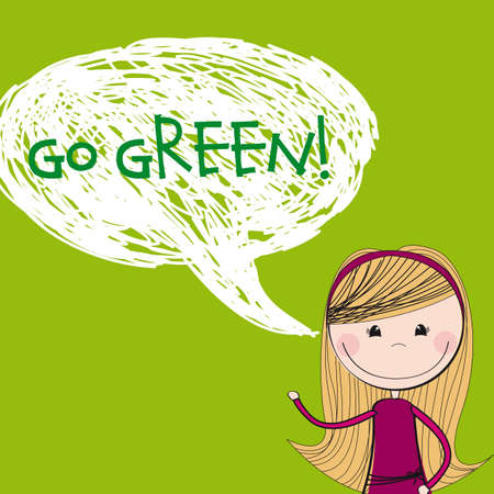 jump for joy: cute girl cartoon with thought bubble, go green. illustration
