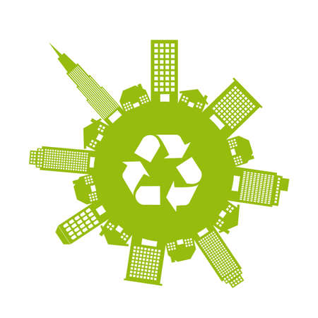 green buildings and houses with recycle sign isolated.  Vector