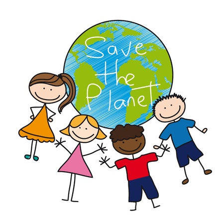 hands holding earth: children drawing over planet isolated over white background.