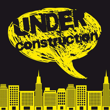 yellow buildings with thought bubble, under construction.  Vector