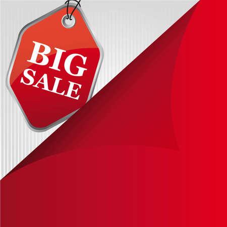 red big sale tag, background. illustration Vector