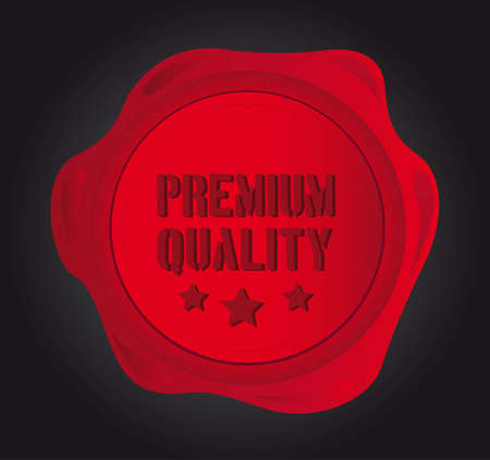 premium quality wax seal over black background. illustration Vector