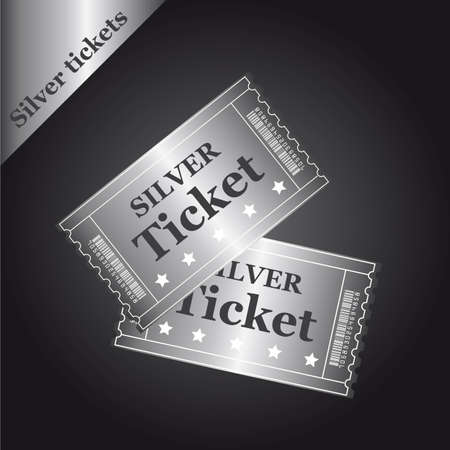 silver tickets over black background. illustration Vector