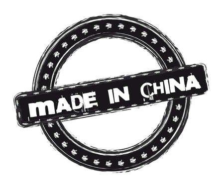 made in china stamp isolated over white background. Illustration