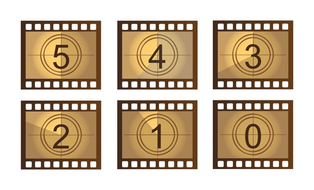 numerical: old Film countdown isolated over white background. Illustration