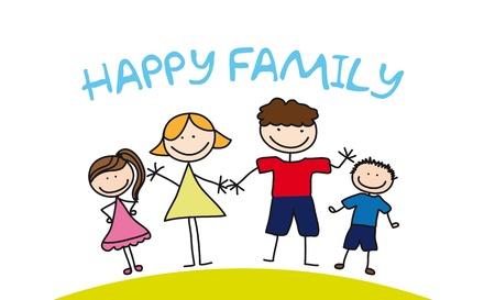 gelukkig gezin tekening over gras. illustratie