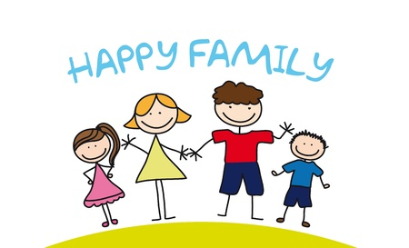 happy family drawing over grass. illustration Illustration