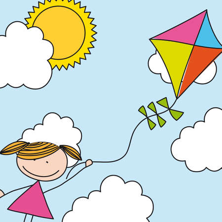 girl with kite over sky drawing. illustration  Illustration
