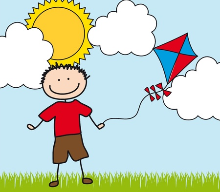 boy with kite drawing over landscape. illustration Vector
