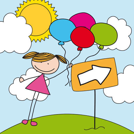 girl with balloons over landscape. illustration Vector