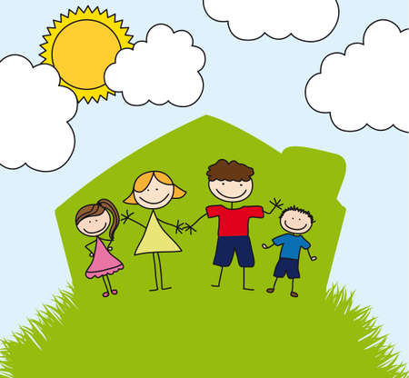 happy family over house drawing, landscape. illustration Vector