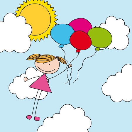 colorful girl with balloons over sky, drawing.  Vector