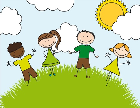 childrens drawing over landscape. illustration Vector