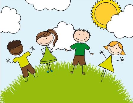 childrens drawing over landscape. illustration Vector