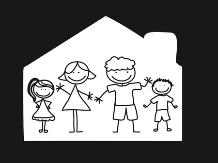 happy family over house, black and white. illustration Vector