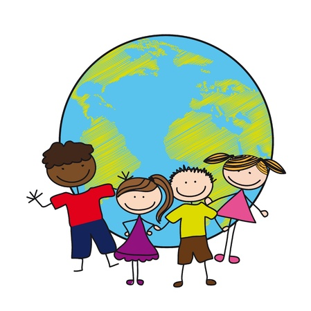 children over planet drawing isolated over white backgroud.  Vector