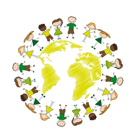 children drawing with map isolated over white background.  Vector