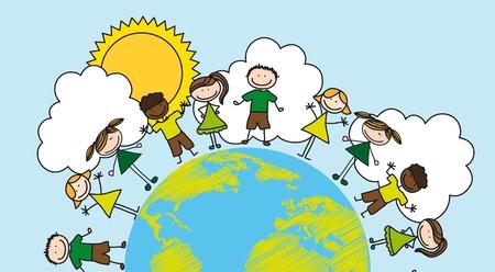planeta tierra feliz: los niños mayores de dibujo planeta sobre el paisaje. Vectores