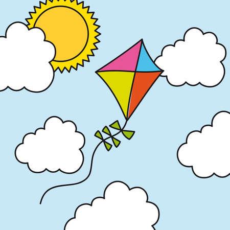 kite drawing over summer landscape. illustration Vector