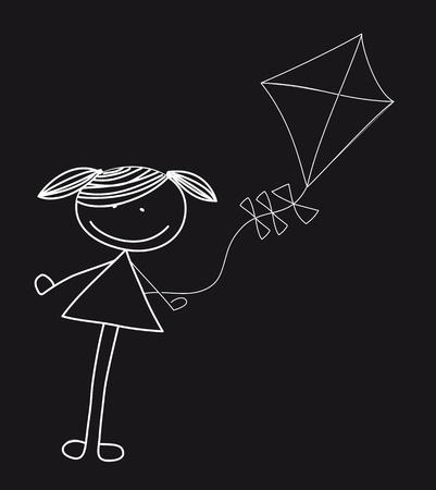 girl with kite isolated over black background.  Vector