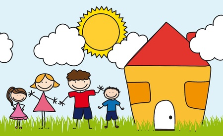 family over landscape with house, drawing.  Vector