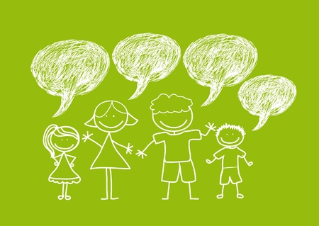 family with thought bubbles drawing over green background.  Illustration