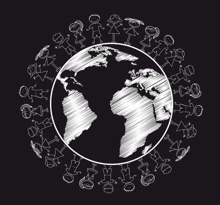 happy planet earth: los ni�os mayores de planeta aislado, blanco y negro.