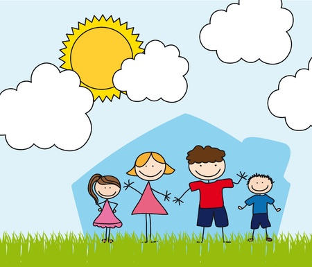 happy family over house drawing, landscape.  Vector