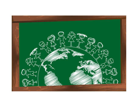 children with planet over chalkboard, drawing. Vector