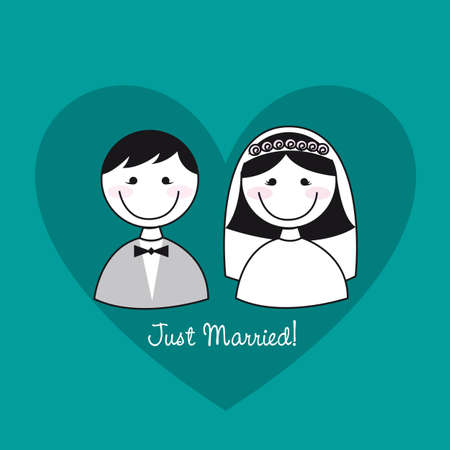 cute man and woman icons over heart, just married.  Vector