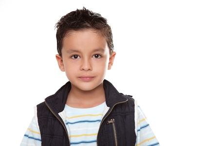 Beauty Child looking at the camera over white background Stock Photo